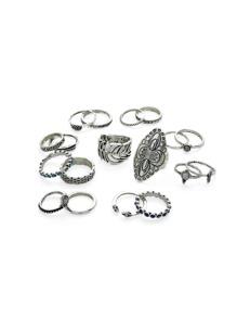Conjunto de anillo con diseño de flor y hoja