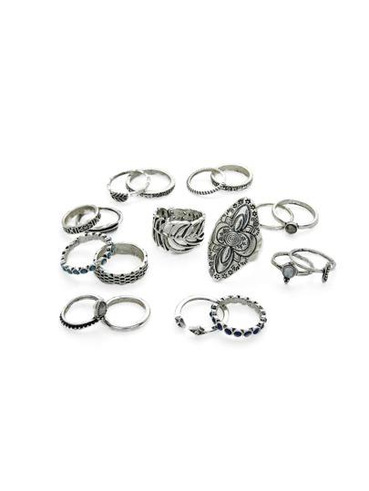 Flower & Hollow Leaf Design Ring Set