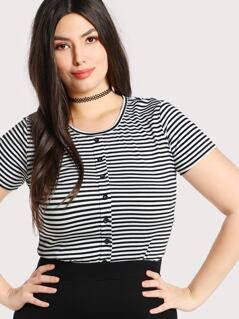 Plus Button Front Striped Tee
