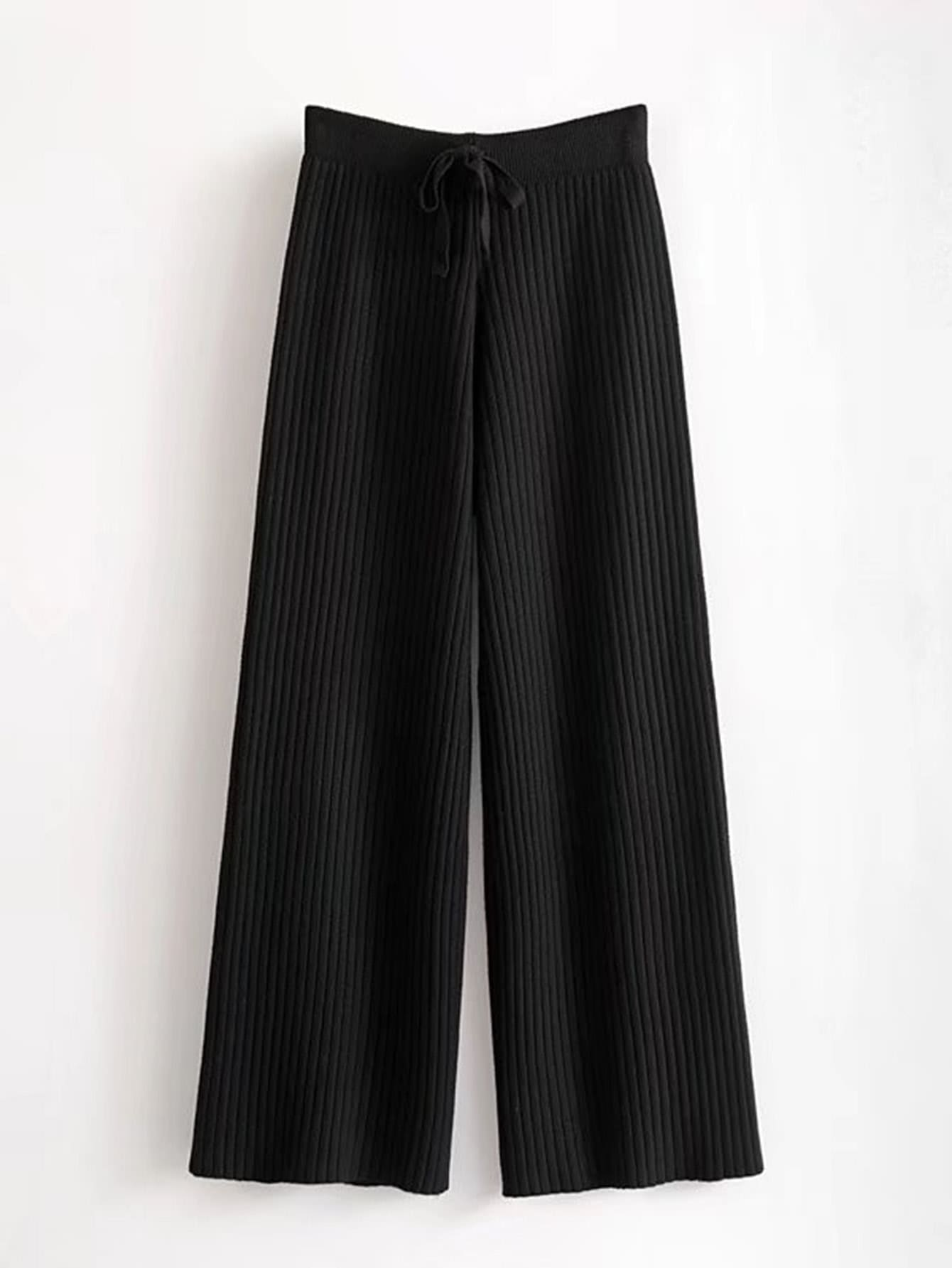 Drawstring Waist Rib Knit Pants