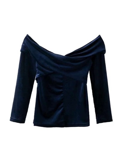 Crossover Velvet Bardot Top