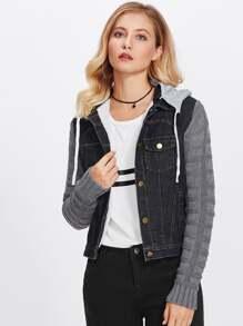 Contrast Knitting Sleeve Denim Jacket