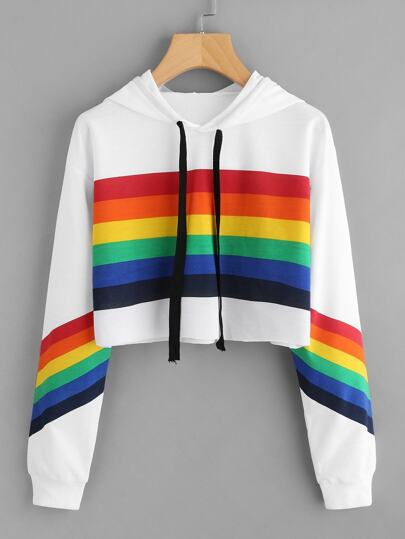 Rainbow Striped Print Crop Hoodie