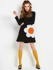 Sunflower Pattern Tunic Dress
