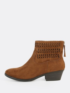 Braided Solid Ankle Booties CHESTNUT
