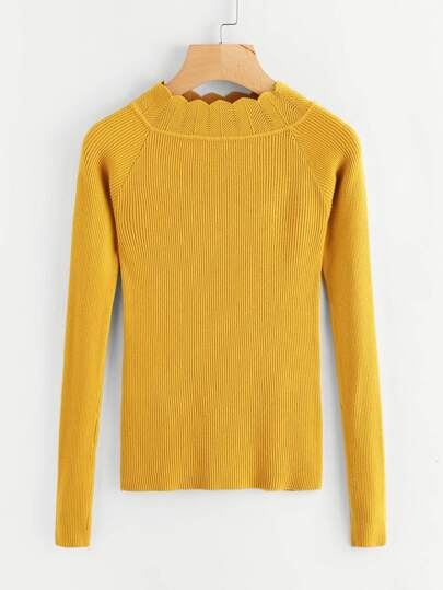 Scallop Neck Raglan Sleeve Ribbed Sweater
