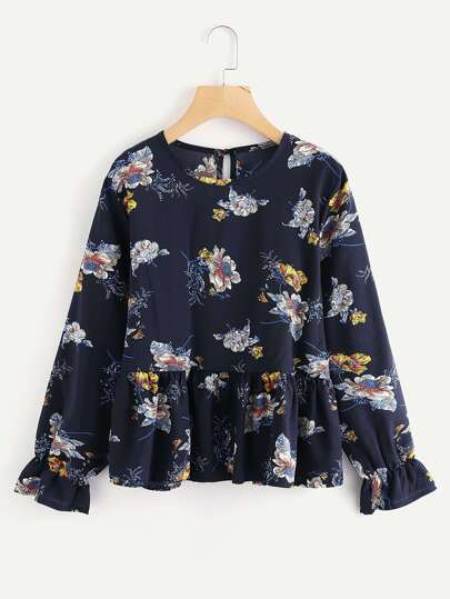 Fluted Sleeve Floral Print Ruffle Hem Top