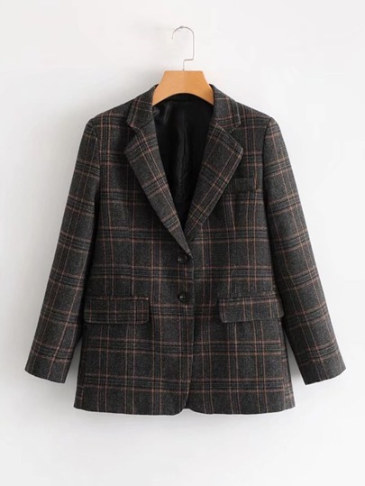 Double Button Dual Pocket Plaid Blazer
