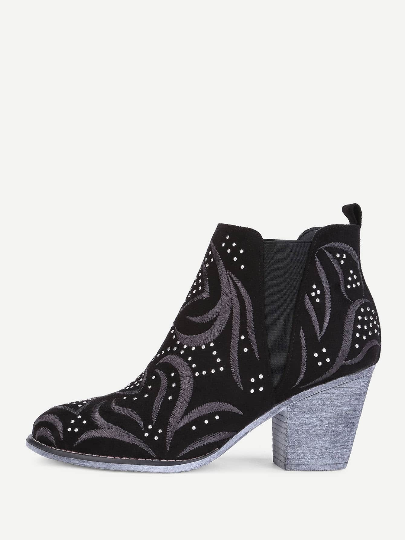 Embroidery Detail Block Heeled Ankle Boots