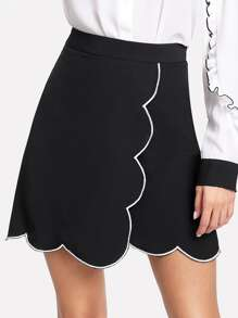 Scallop Contrast Binding Trim Skirt