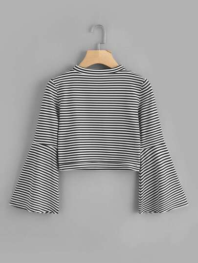 Fluted Sleeve Striped Tee