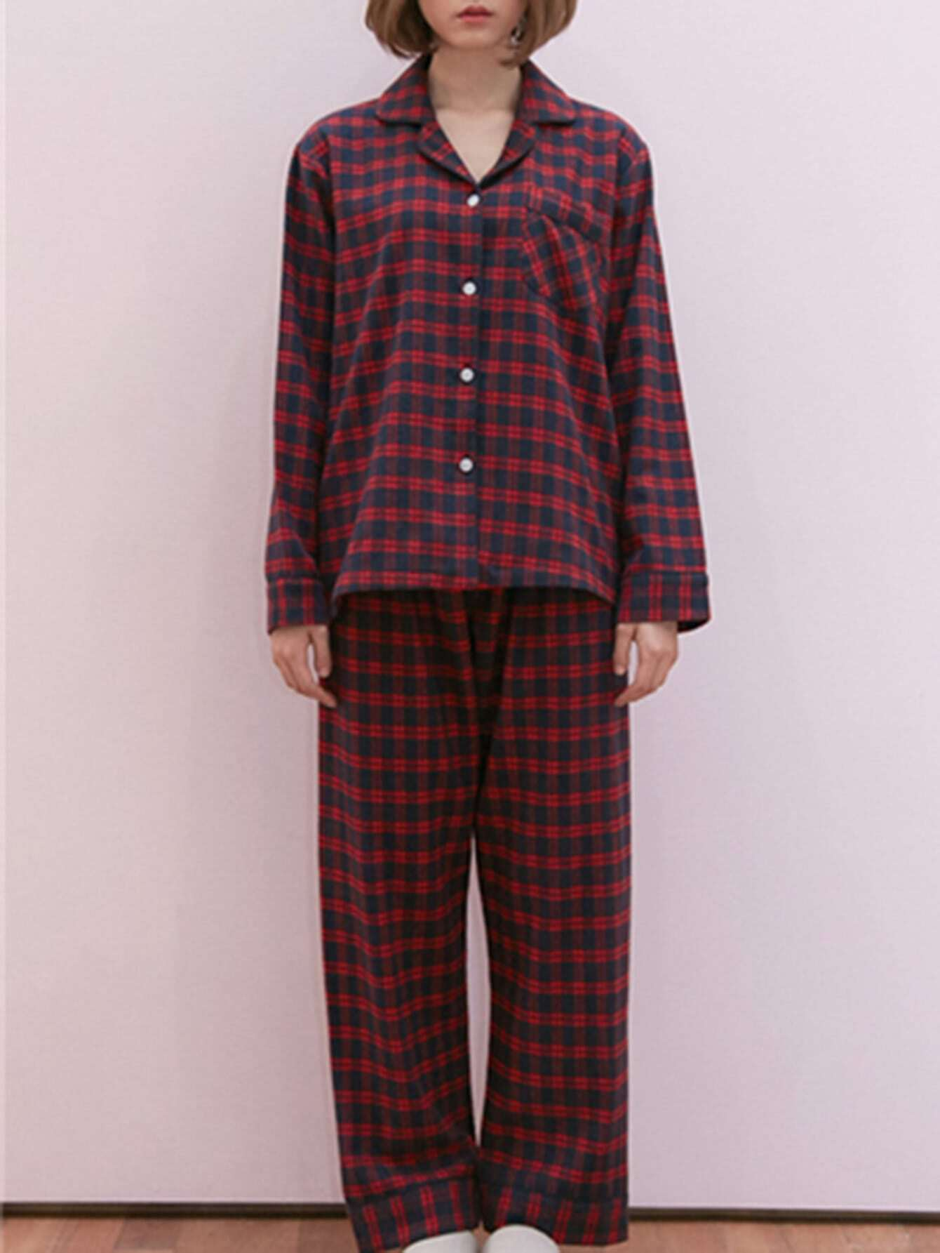 Plaid Shirt & Pants Pj Set