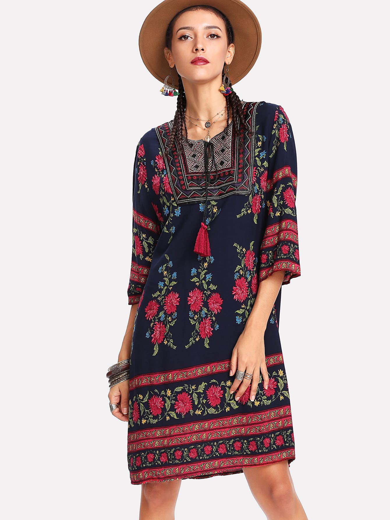 Botanical Print Tassel Tie Neck Tunic Dress