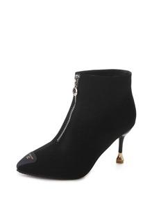 Patch Detail Zipper Front Stiletto Heels