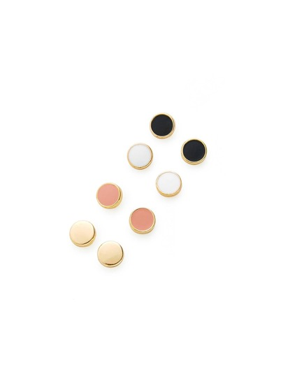 Mini Round Stud Earring Set 4Pair