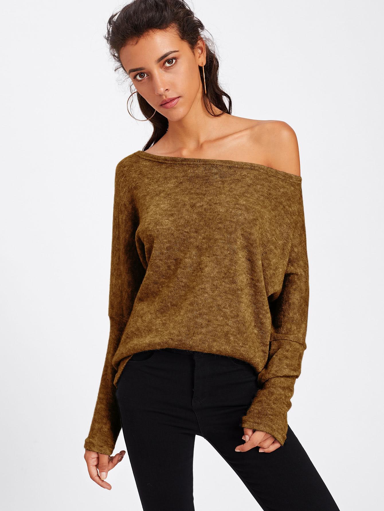 все цены на Asymmetric Shoulder Batwing Sleeve Sweater