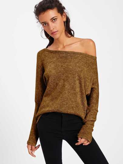 Asymmetric Shoulder Batwing Sleeve Sweater