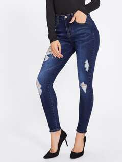 Zipper Up Hem Shredded Jeans