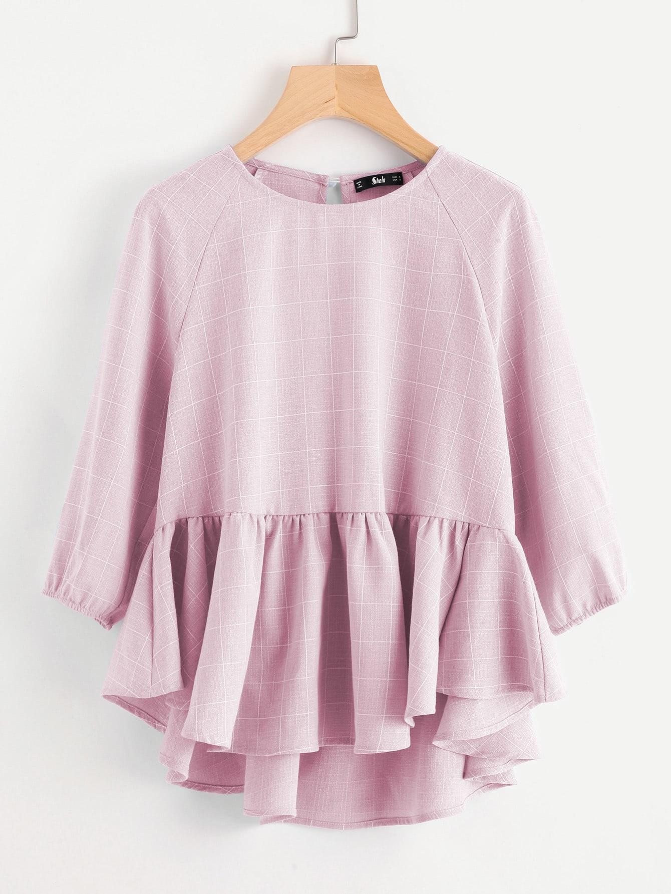 Купить Модная асимметричная клетчатая блуза с оборкой, null, SheIn
