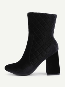 Quilted Design Side Zipper Ankle Boots