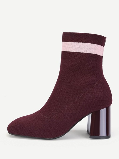 Color Block Detail Knit Ankle Boots