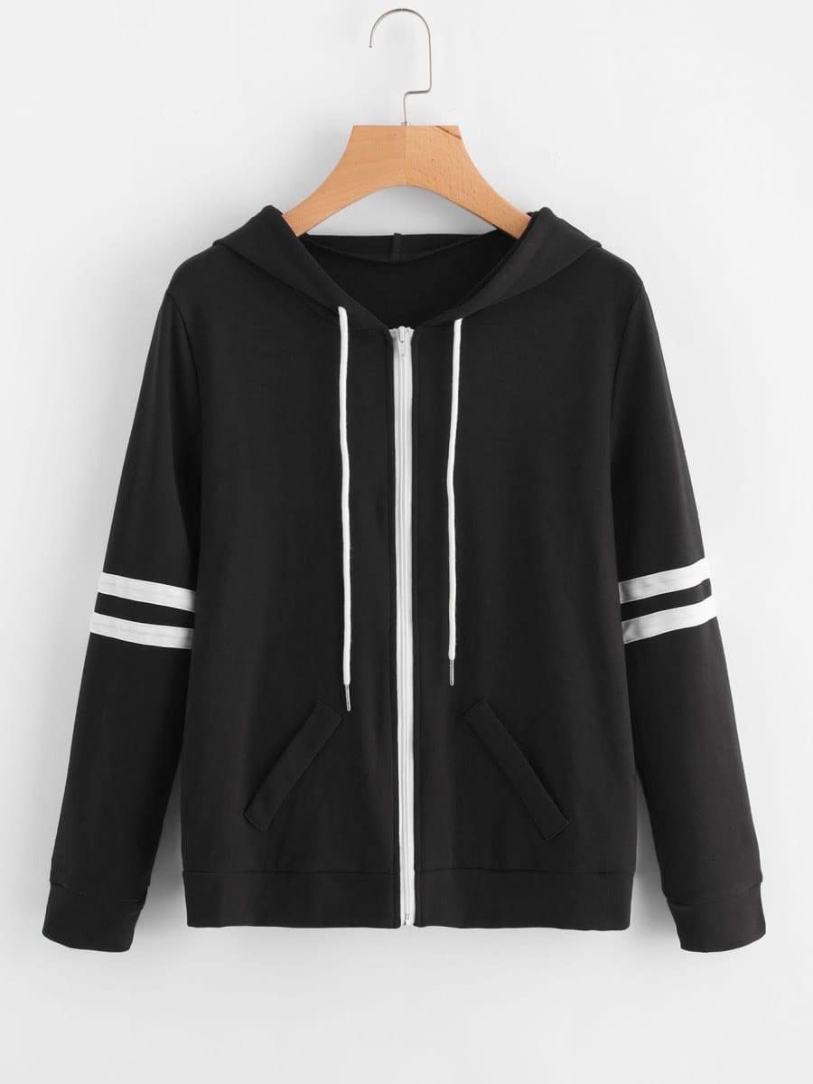 Hooded Varsity-Striped Zip Up Jacket zip up jacket
