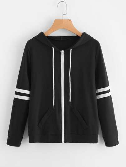 Hooded Varsity-Striped Zip Up Jacket