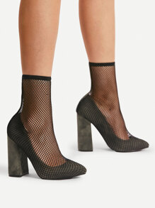 Fishnet Insert 2 In 1 Block Heels