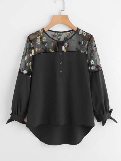 Embroidered Mesh Panel Dip Hem Tie Cuff Blouse