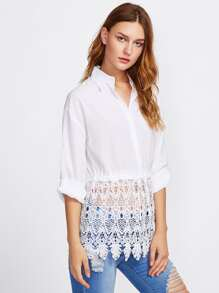 Lace Cronchet Contrast Roll Up Sleeve Shirt