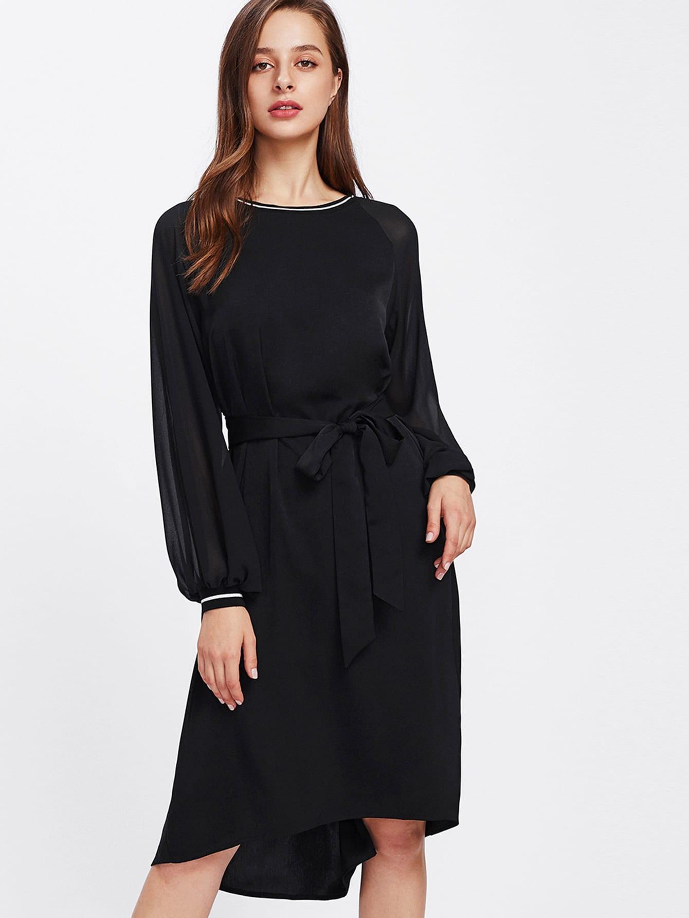Lantern Sleeve Striped Trim Dip Hem Dress lantern sleeve ruffle trim pinstripe dress