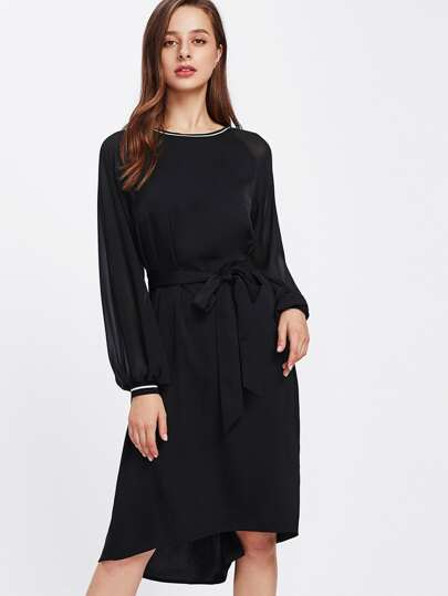 Lantern Sleeve Striped Trim Dip Hem Dress