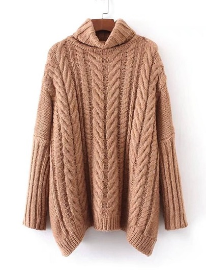 Cable Knit Turtleneck Oversized Sweater -SheIn(Sheinside)