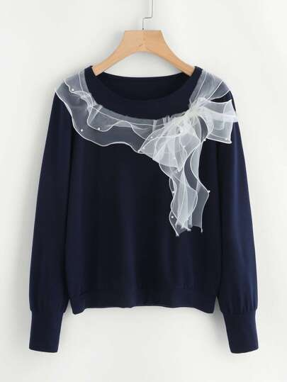Contrast Pearl Beading Mesh Trim Pullover