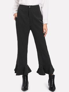 Ruffle Hem Pinstripe Pants