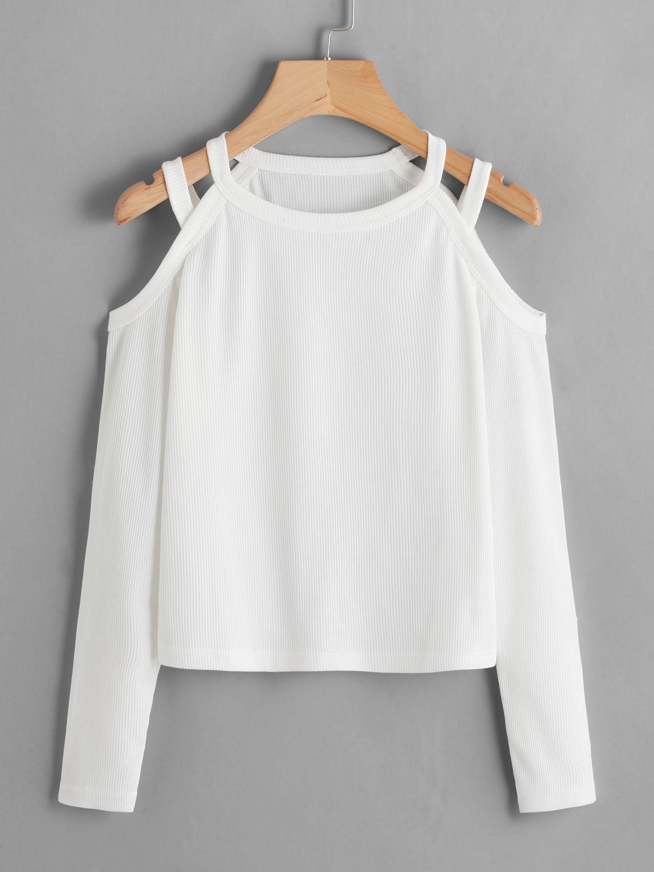 Cold Shoulder Ribbed Tee