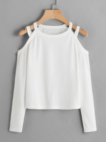 Cold Shoulder Ribbed Tee ROMWE