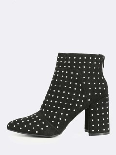 Studded Point Toe Chunky Heel Boots BLACK