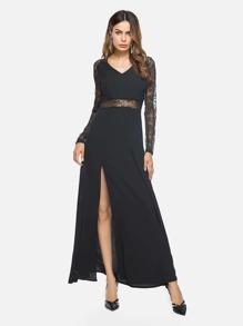 V Neckline Side Split Lace Panel Dress