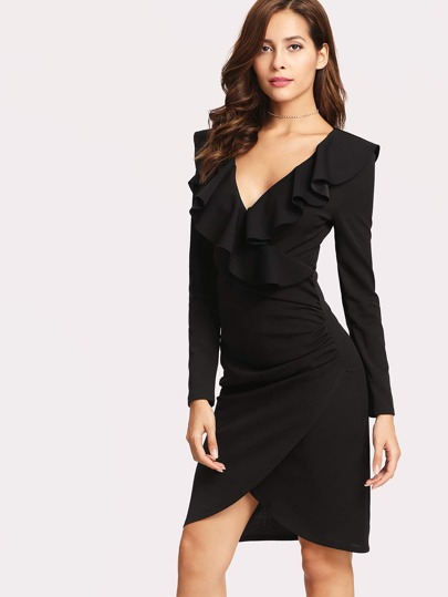 Flounce Trim Tulip Wrap Dress
