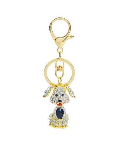 Rhinestone Dog Design Keychain