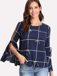 Split Trumpet Sleeve Bow Detail Grid Top