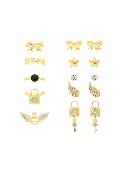 Bow & Wing Design Ring & Earring Set