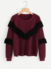 Velvet Frill Trim Panel Sweatshirt