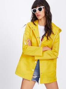 Snap Button Placket Hooded Windbreaker Jacket