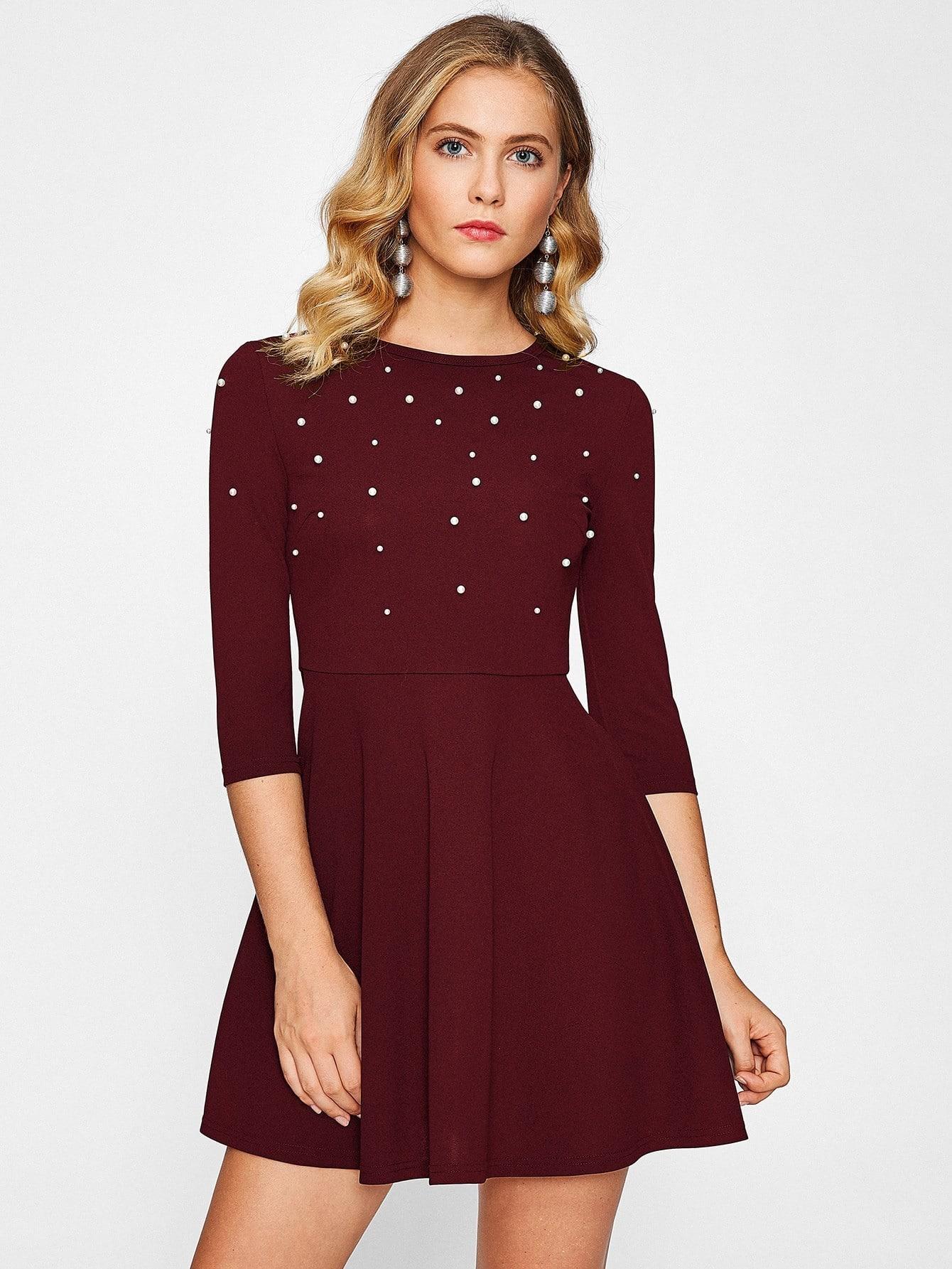 Pearl Embellished Fit & Flare Dress button embellished fit