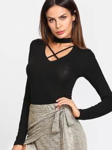 Crisscross Choker Neck Solid Bodysuit