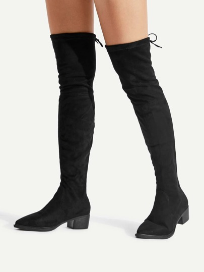 Pointed Toe Lace Up Back Suede Boots