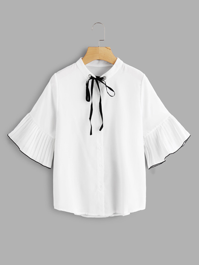 Pleated Fluted Sleeve Tie Neck Top