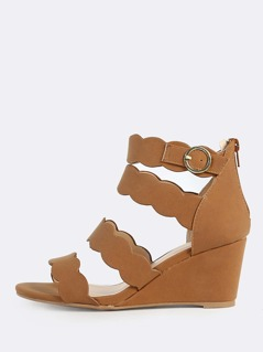 Multi Band Solid Wedge Heels COGNAC